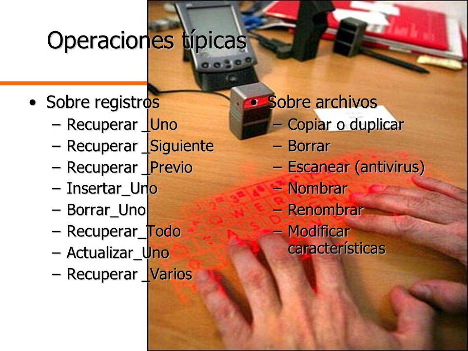 Operaciones típicas Sobre registros Sobre archivos Recuperar _Uno
