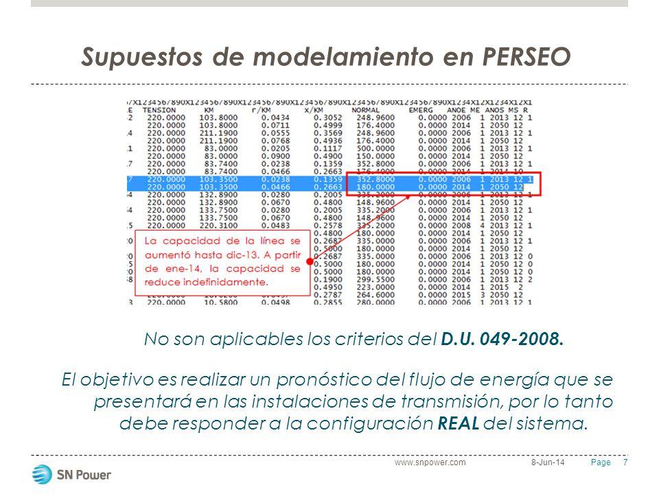 Supuestos de modelamiento en PERSEO