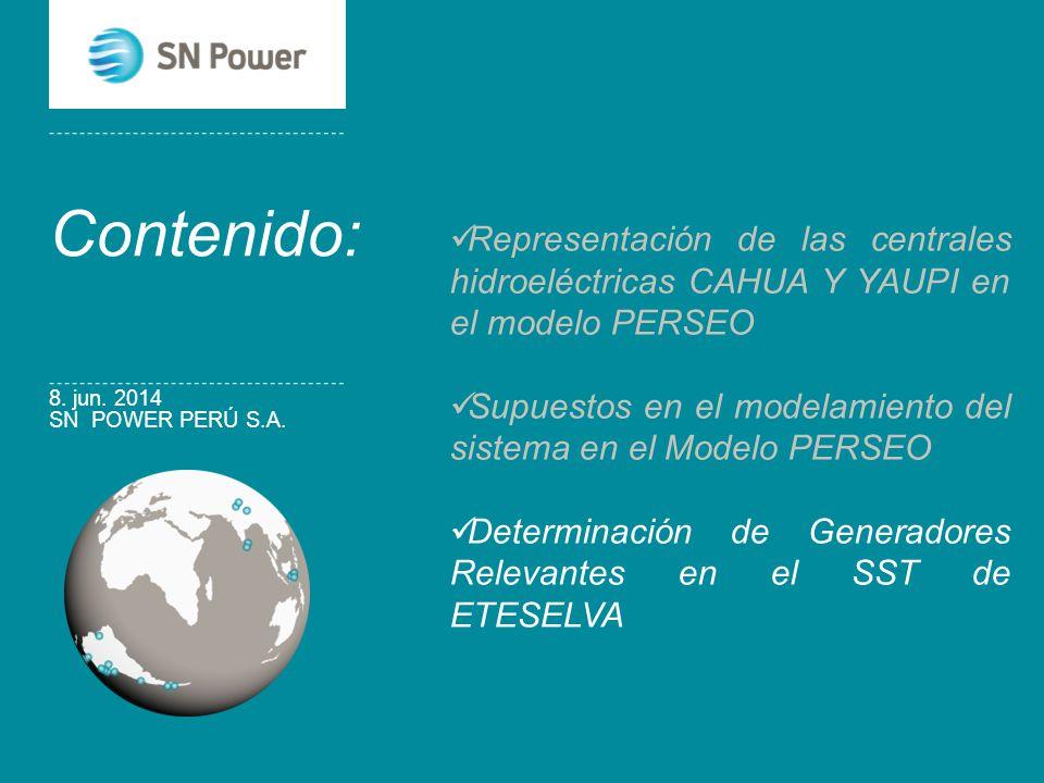 Contenido: Representación de las centrales hidroeléctricas CAHUA Y YAUPI en el modelo PERSEO.