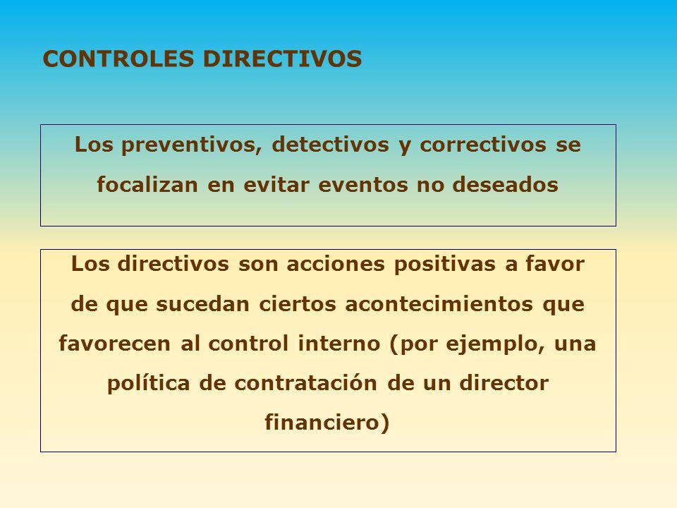 CONTROLES DIRECTIVOS Los preventivos, detectivos y correctivos se focalizan en evitar eventos no deseados.