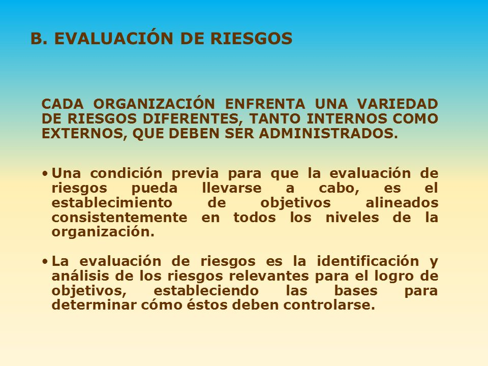 B. EVALUACIÓN DE RIESGOS
