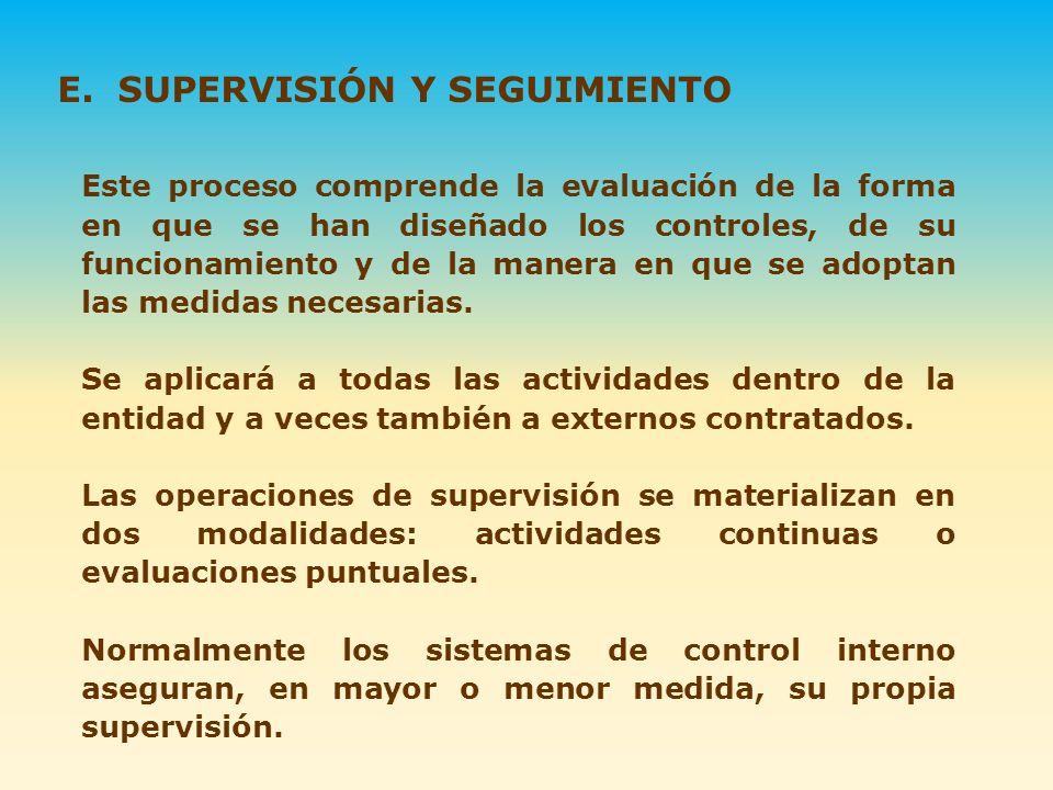 E. SUPERVISIÓN Y SEGUIMIENTO