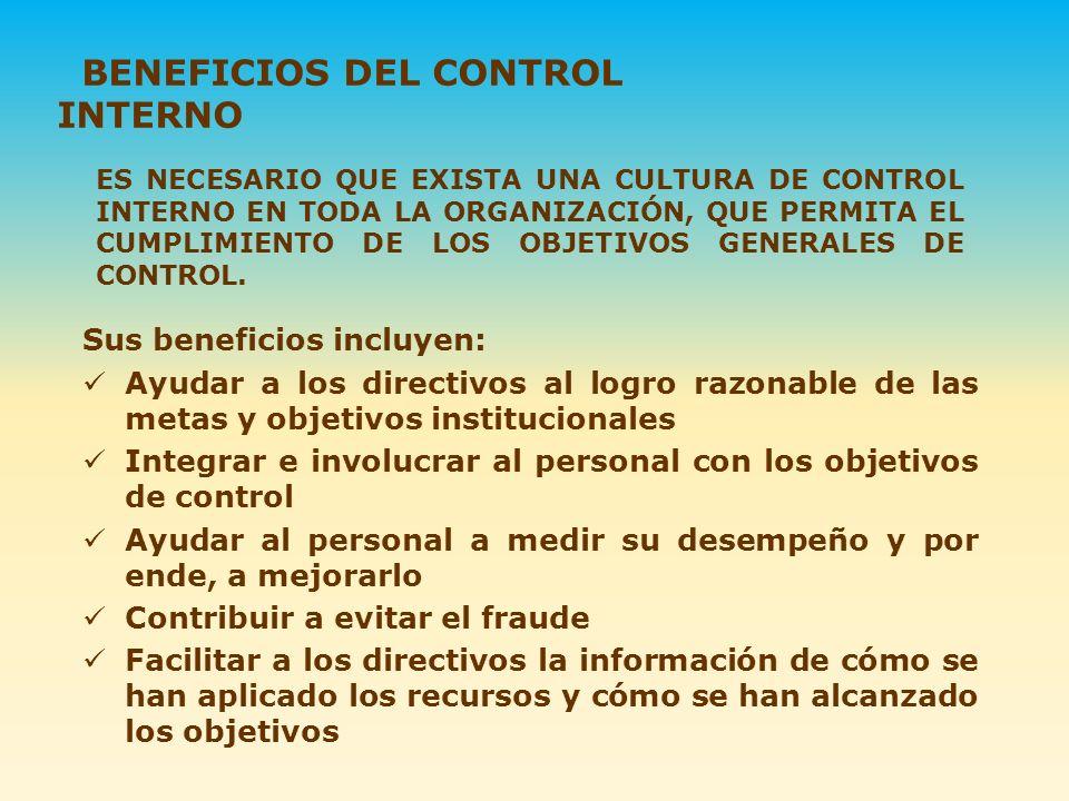 BENEFICIOS DEL CONTROL INTERNO