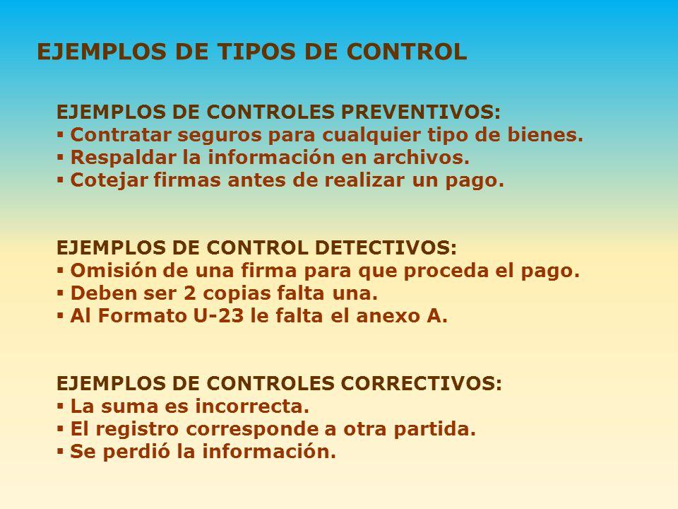 EJEMPLOS DE TIPOS DE CONTROL