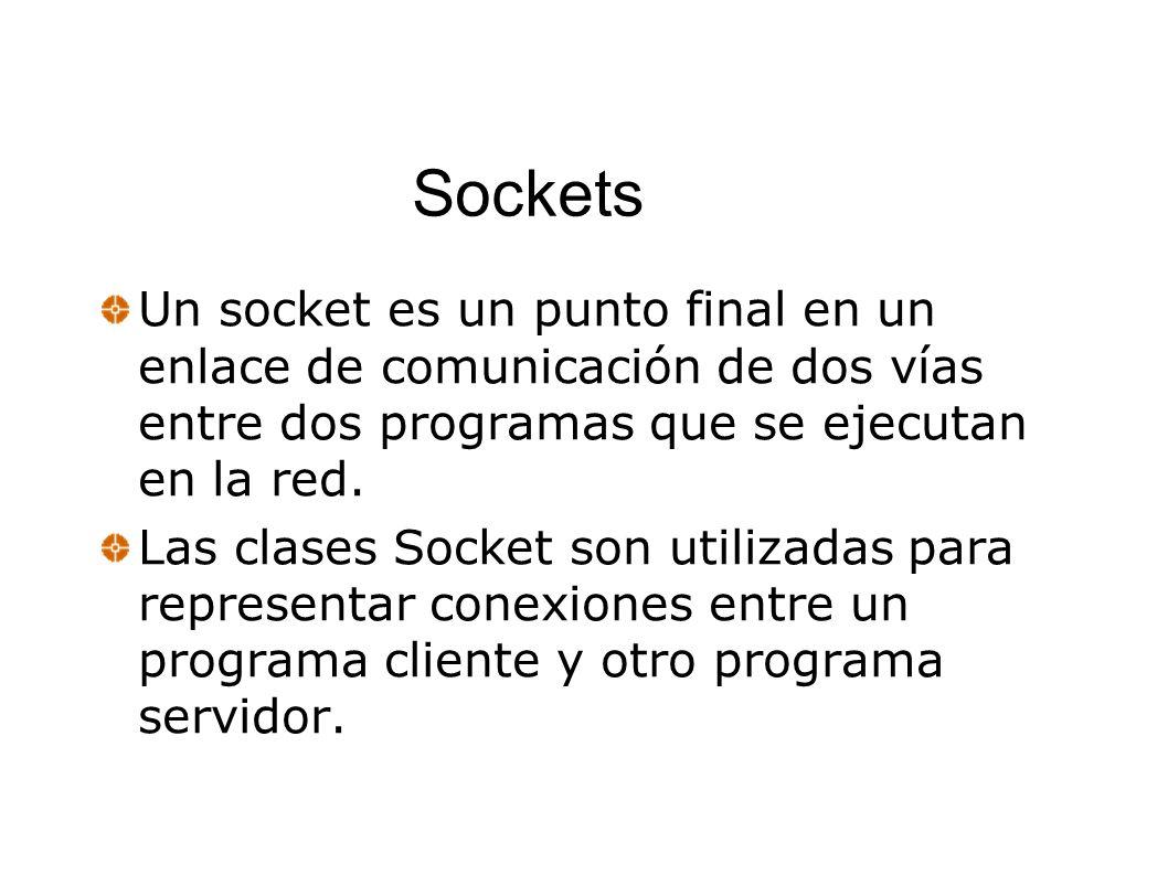 Sockets Un socket es un punto final en un enlace de comunicación de dos vías entre dos programas que se ejecutan en la red.