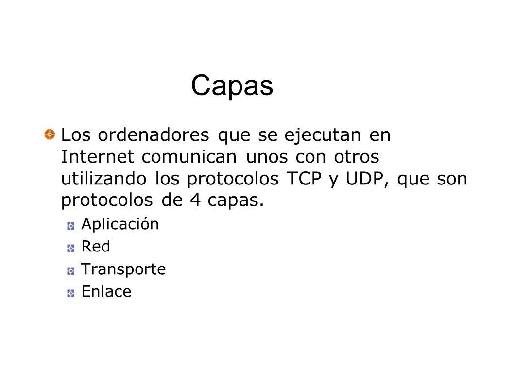 Capas Los ordenadores que se ejecutan en Internet comunican unos con otros utilizando los protocolos TCP y UDP, que son protocolos de 4 capas.