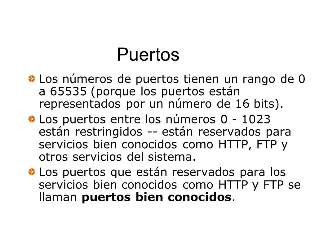 Puertos Los números de puertos tienen un rango de 0 a 65535 (porque los puertos están representados por un número de 16 bits).