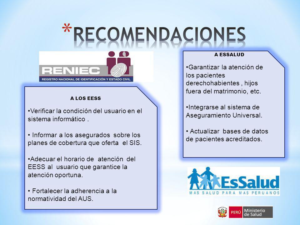 RECOMENDACIONES A ESSALUD. Garantizar la atención de los pacientes derechohabientes , hijos fuera del matrimonio, etc.