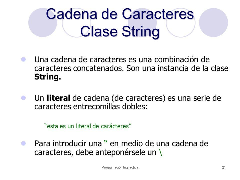 Cadena de Caracteres Clase String