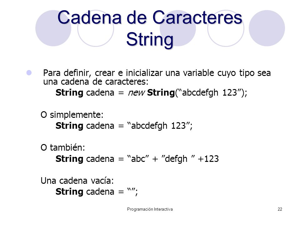 Cadena de Caracteres String