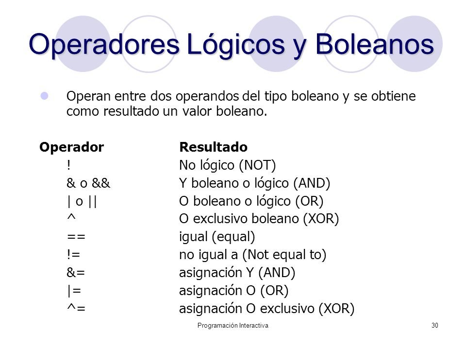 Operadores Lógicos y Boleanos