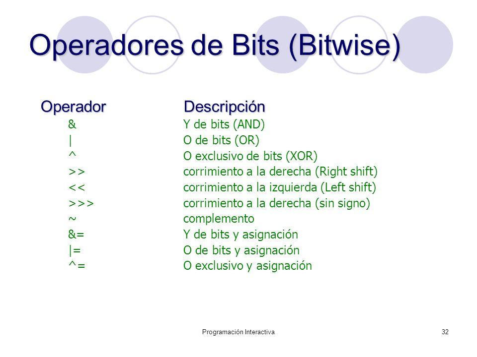 Operadores de Bits (Bitwise)