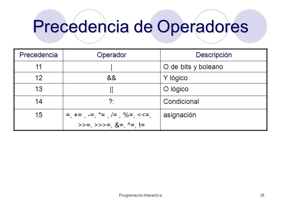 Precedencia de Operadores