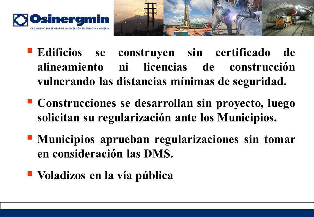 Edificios se construyen sin certificado de alineamiento ni licencias de construcción vulnerando las distancias mínimas de seguridad.
