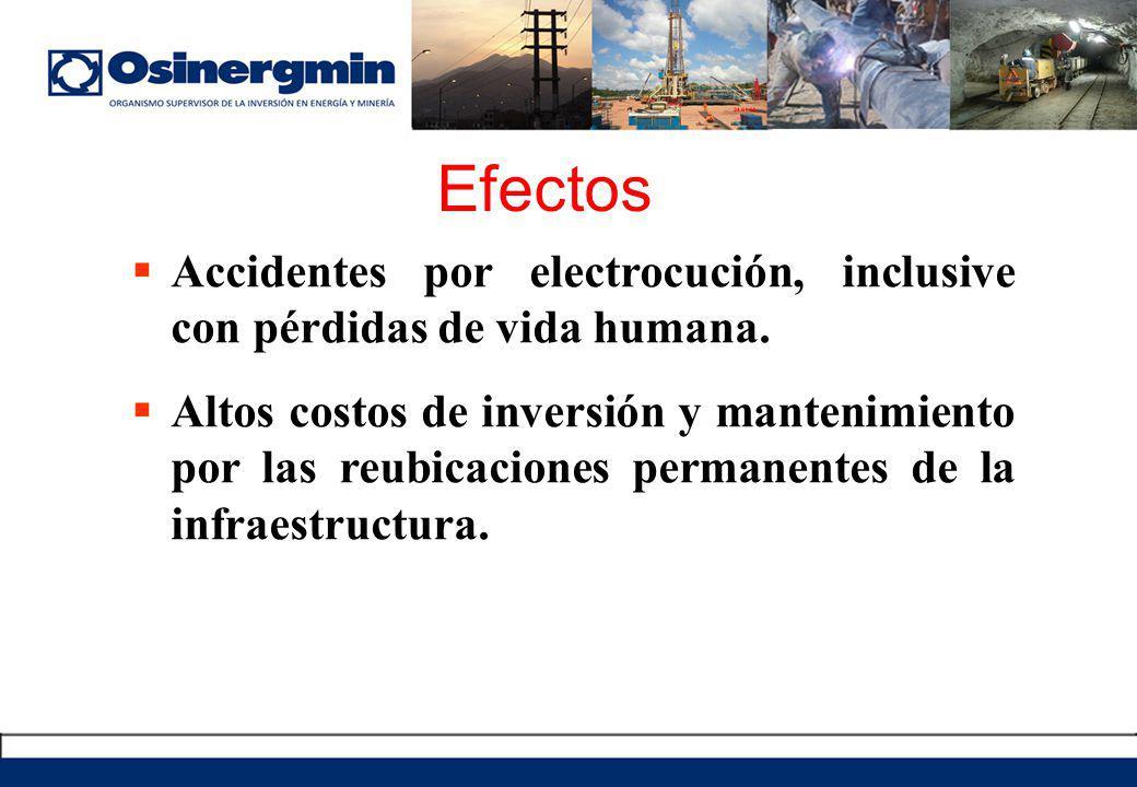 Efectos Accidentes por electrocución, inclusive con pérdidas de vida humana.