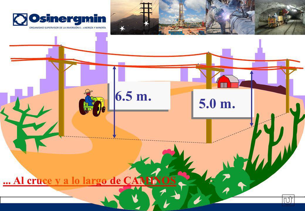6.5 m. 5.0 m. ... Al cruce y a lo largo de CAMINOS