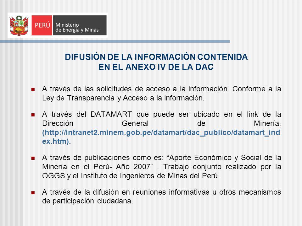 DIFUSIÓN DE LA INFORMACIÓN CONTENIDA EN EL ANEXO IV DE LA DAC