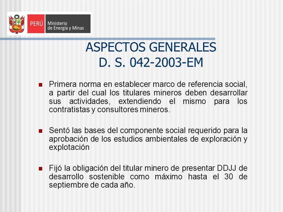 ASPECTOS GENERALES D. S. 042-2003-EM