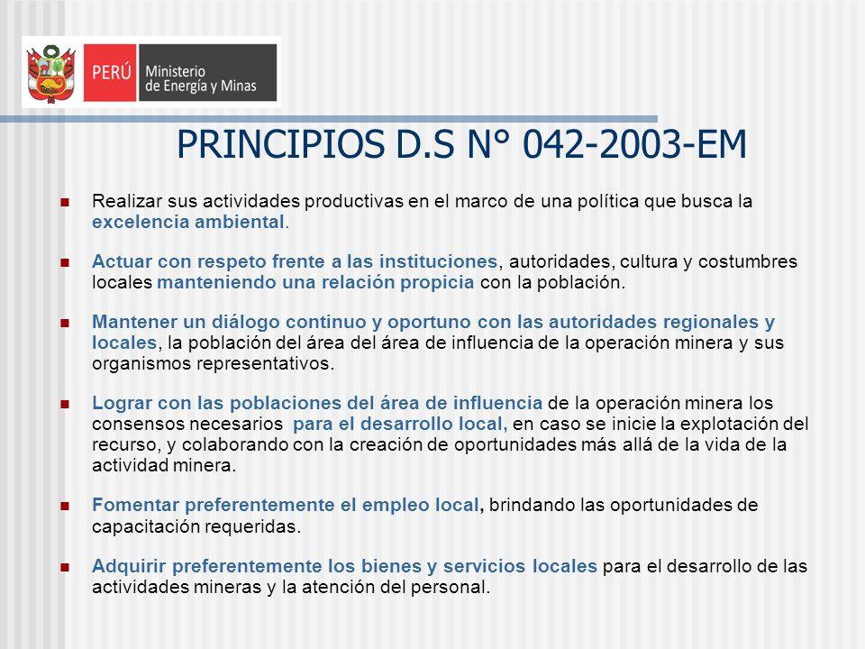 PRINCIPIOS D.S N° 042-2003-EM Realizar sus actividades productivas en el marco de una política que busca la excelencia ambiental.