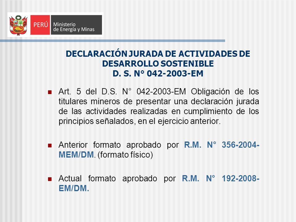 DECLARACIÓN JURADA DE ACTIVIDADES DE DESARROLLO SOSTENIBLE D. S
