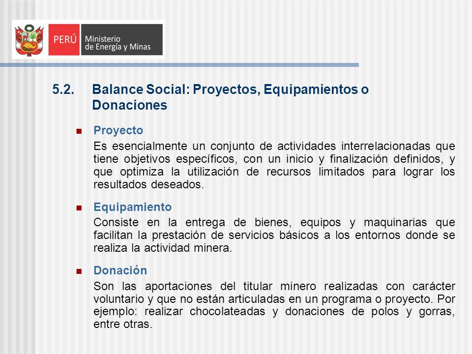 5.2. Balance Social: Proyectos, Equipamientos o Donaciones