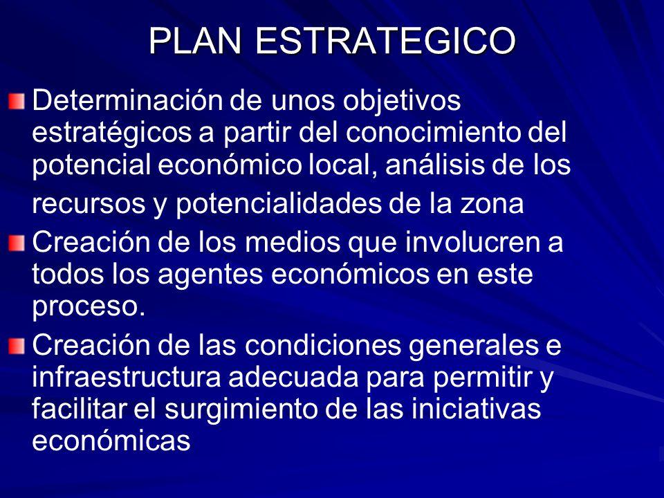 PLAN ESTRATEGICO Determinación de unos objetivos estratégicos a partir del conocimiento del potencial económico local, análisis de los.
