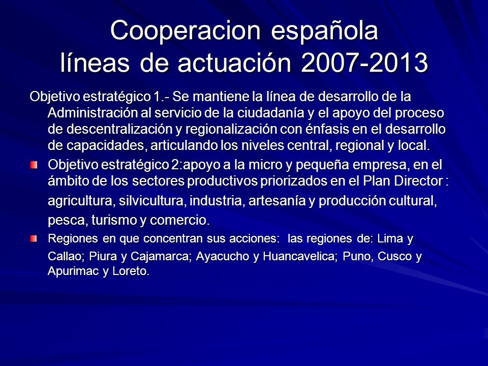 Cooperacion española líneas de actuación 2007-2013