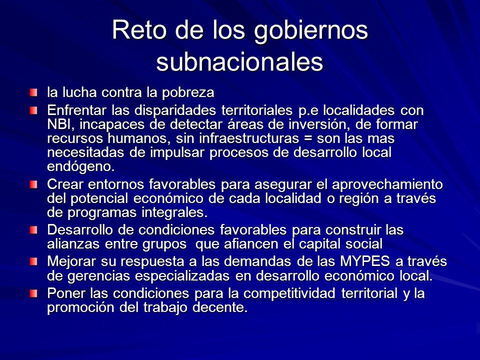 Reto de los gobiernos subnacionales