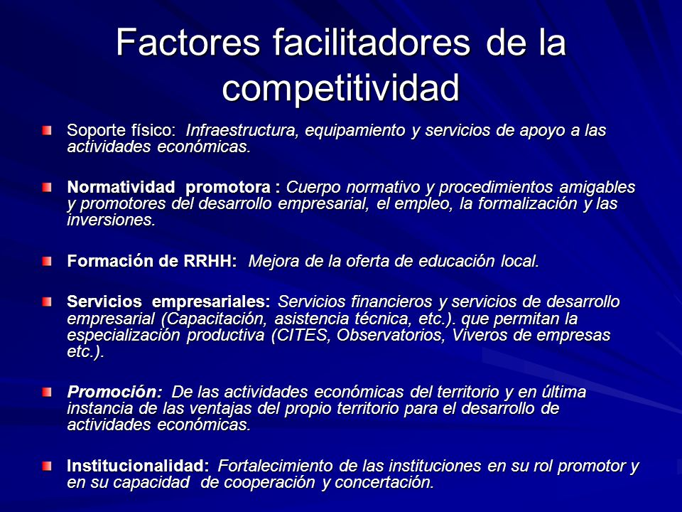 Factores facilitadores de la competitividad