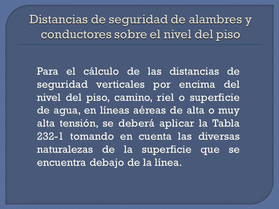 Distancias de seguridad de alambres y conductores sobre el nivel del piso