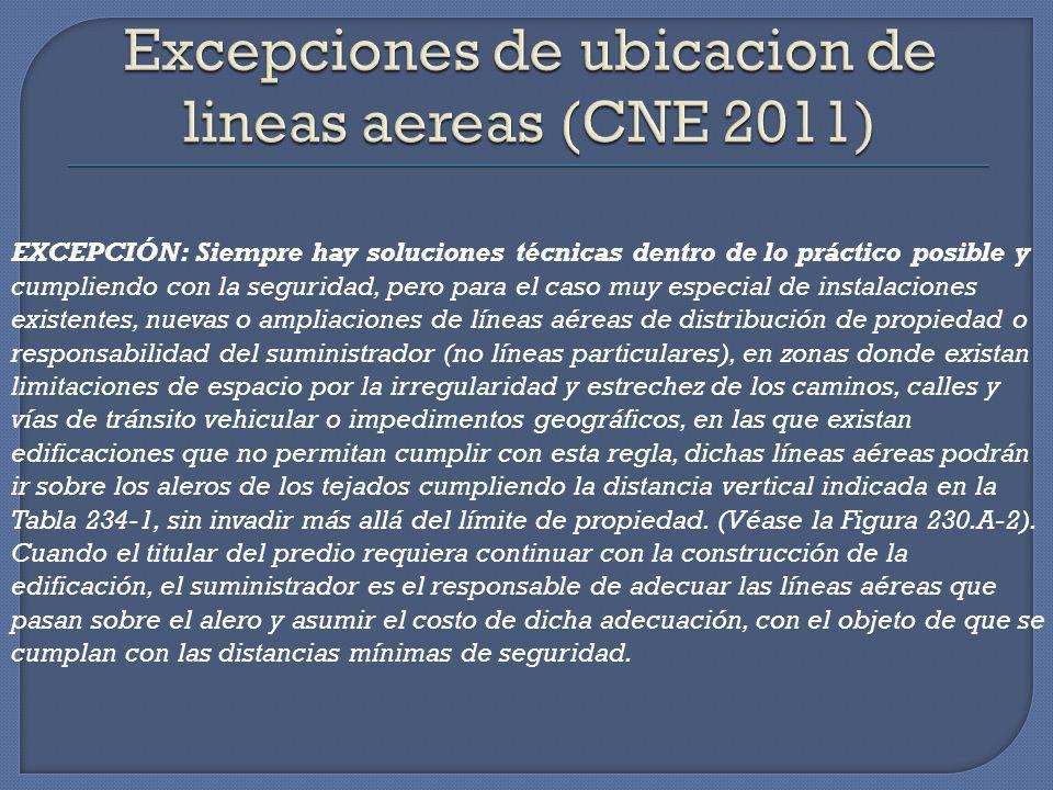 Excepciones de ubicacion de lineas aereas (CNE 2011)