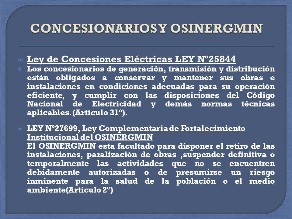 CONCESIONARIOS Y OSINERGMIN
