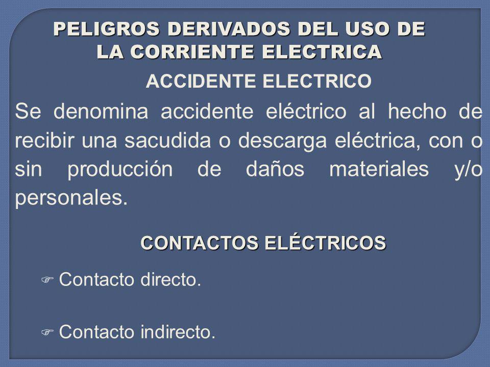 PELIGROS DERIVADOS DEL USO DE LA CORRIENTE ELECTRICA