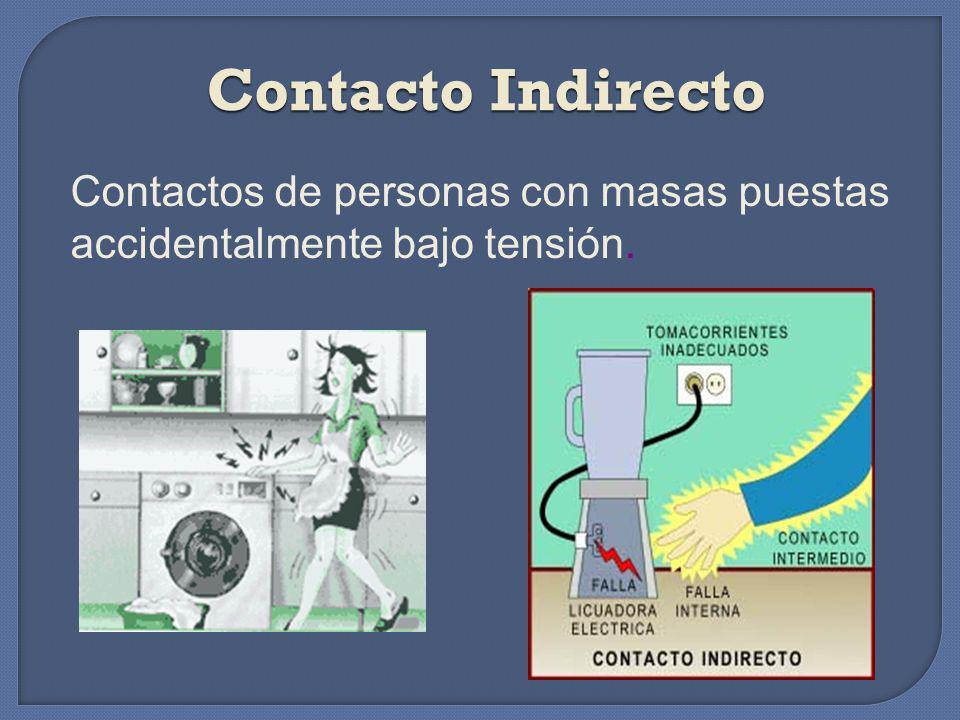 Contacto Indirecto Contactos de personas con masas puestas accidentalmente bajo tensión.