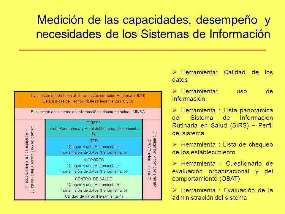 Medición de las capacidades, desempeño y necesidades de los Sistemas de Información