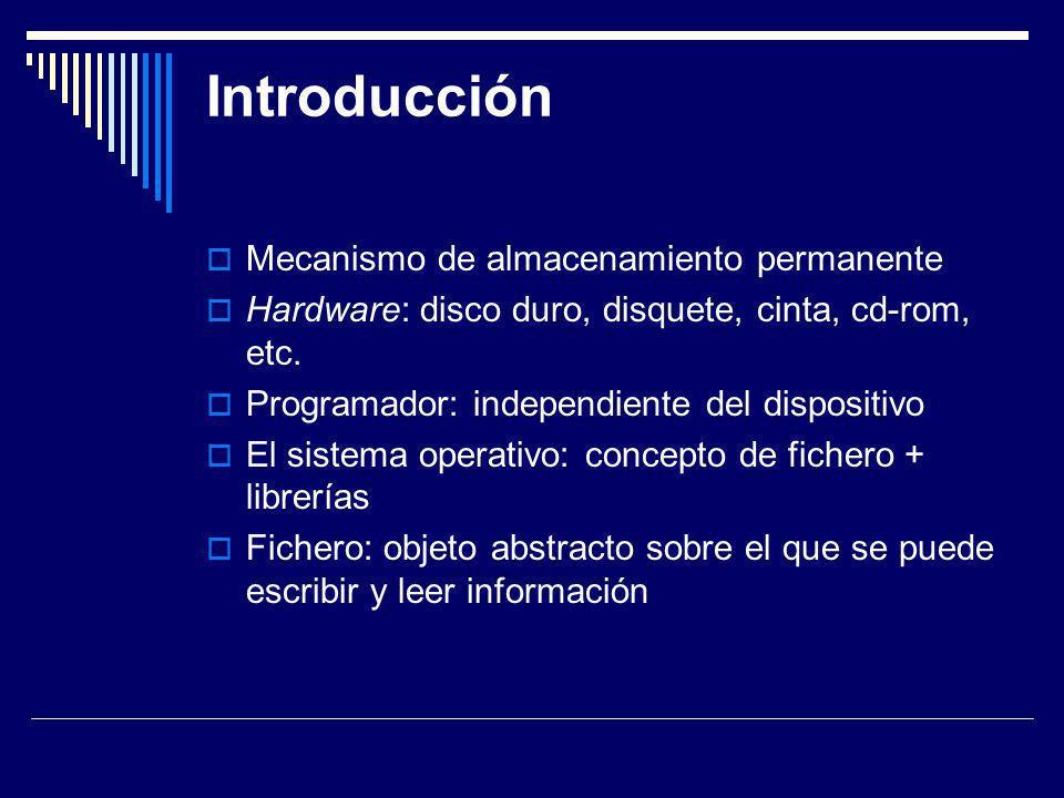 Introducción Mecanismo de almacenamiento permanente