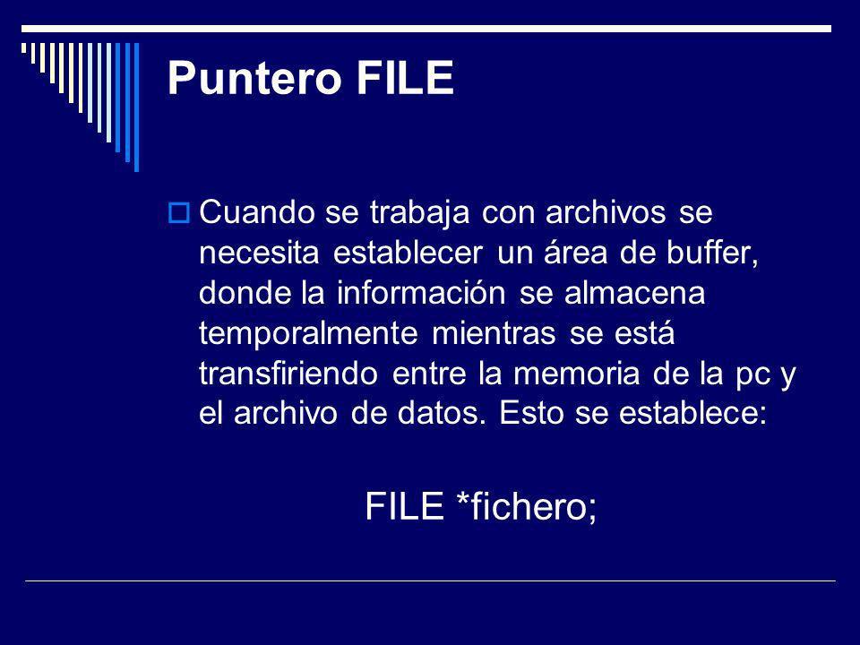 Puntero FILE FILE *fichero;