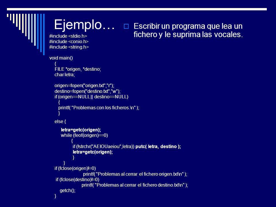 Ejemplo… Escribir un programa que lea un fichero y le suprima las vocales. #include <stdio.h> #include <conio.h>