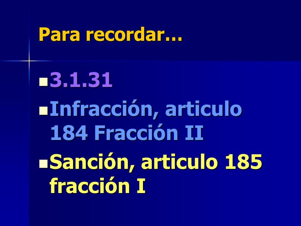 Infracción, articulo 184 Fracción II Sanción, articulo 185 fracción I