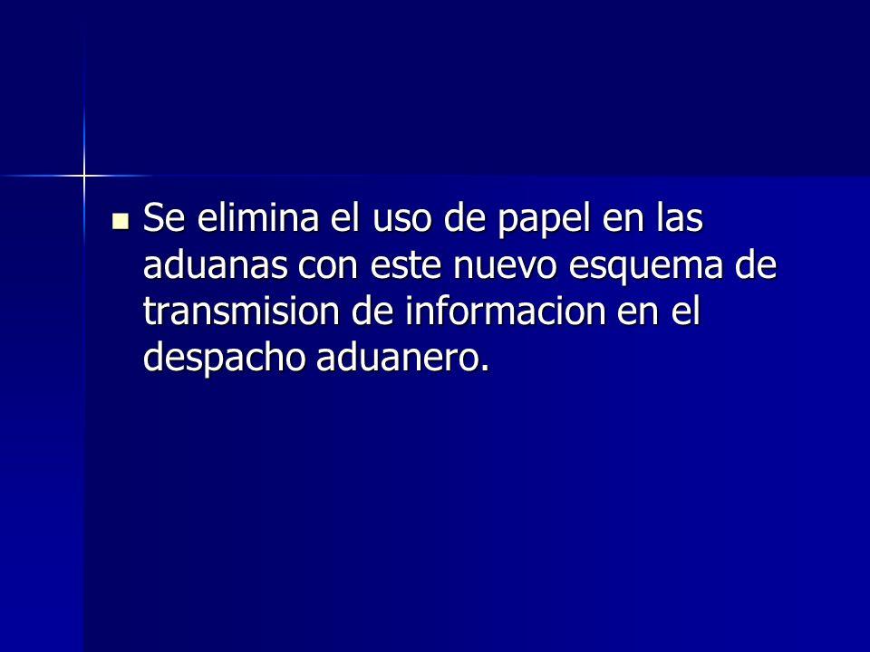 Se elimina el uso de papel en las aduanas con este nuevo esquema de transmision de informacion en el despacho aduanero.