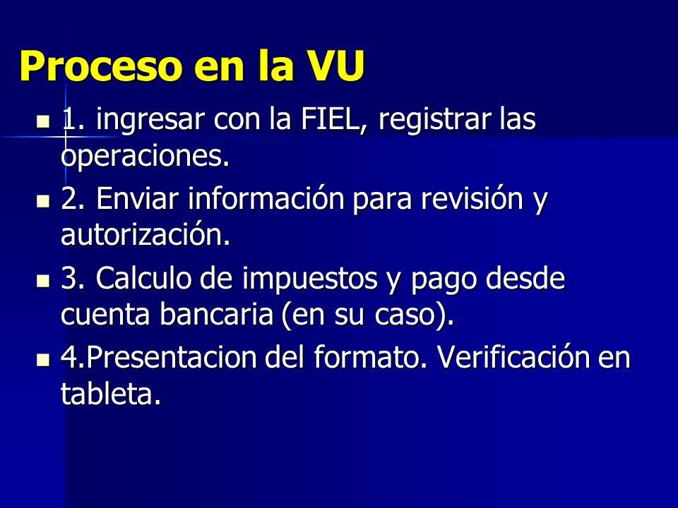 Proceso en la VU 1. ingresar con la FIEL, registrar las operaciones.