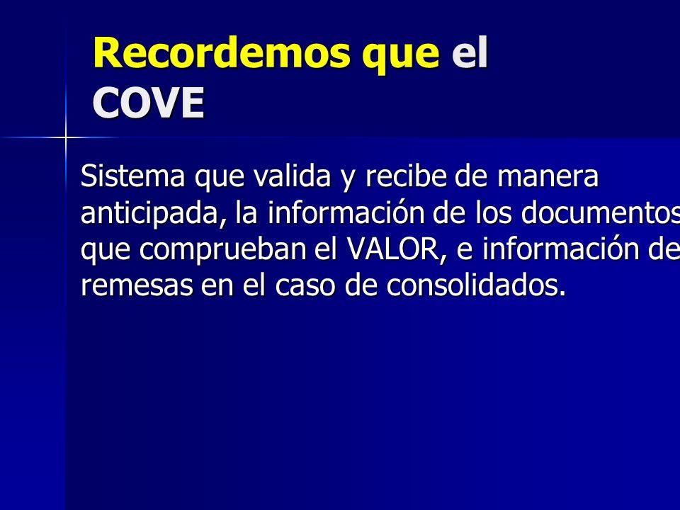 Recordemos que el COVE