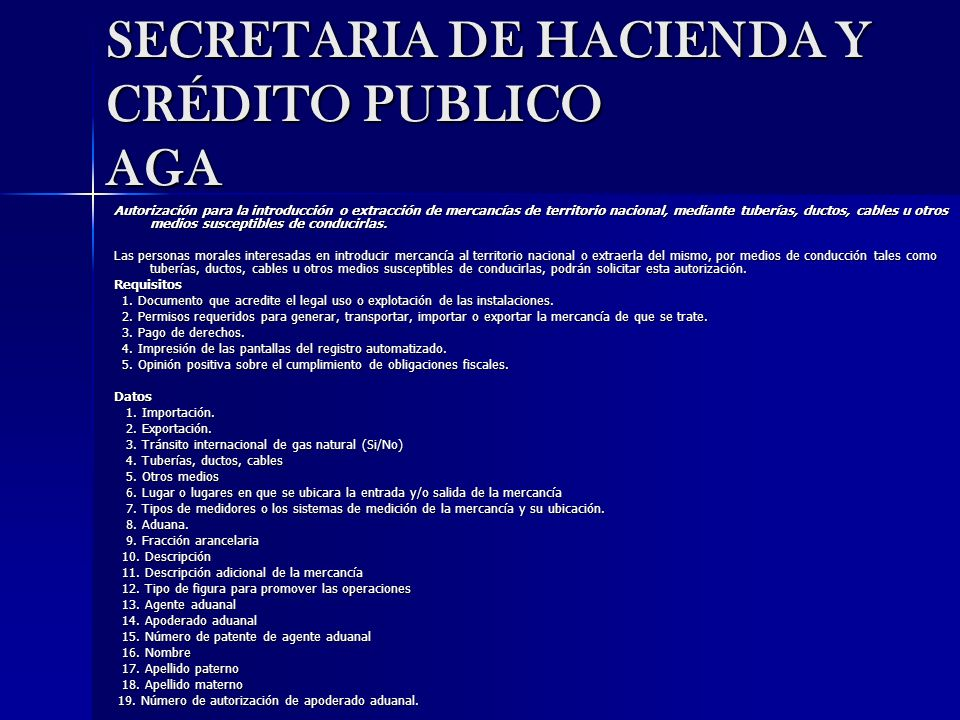 SECRETARIA DE HACIENDA Y CRÉDITO PUBLICO AGA