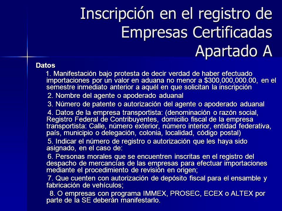 Inscripción en el registro de Empresas Certificadas Apartado A