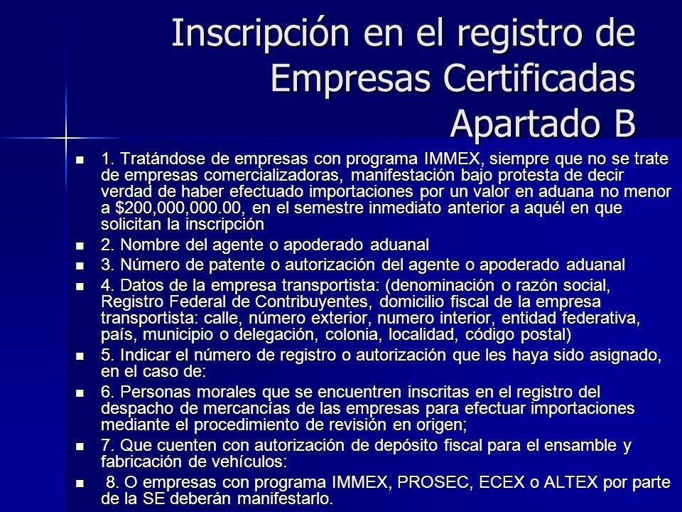 Inscripción en el registro de Empresas Certificadas Apartado B