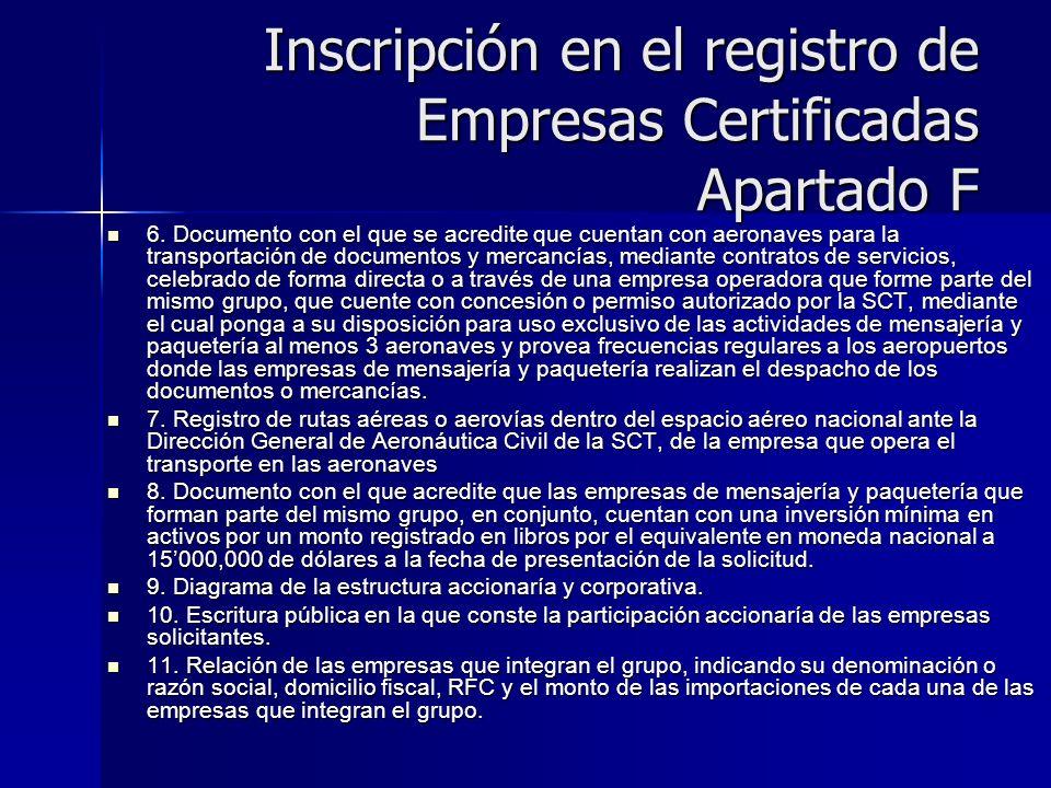 Inscripción en el registro de Empresas Certificadas Apartado F
