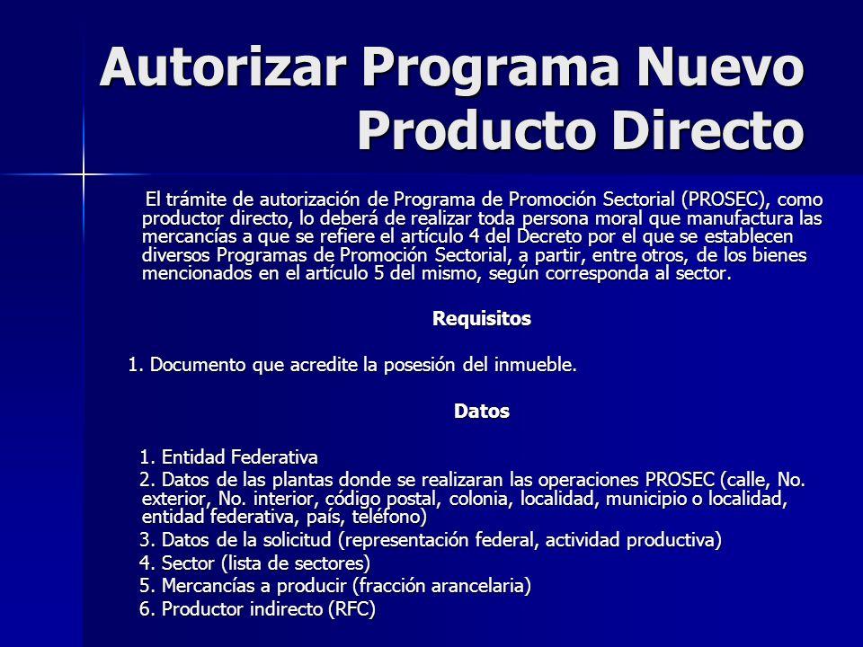 Autorizar Programa Nuevo Producto Directo