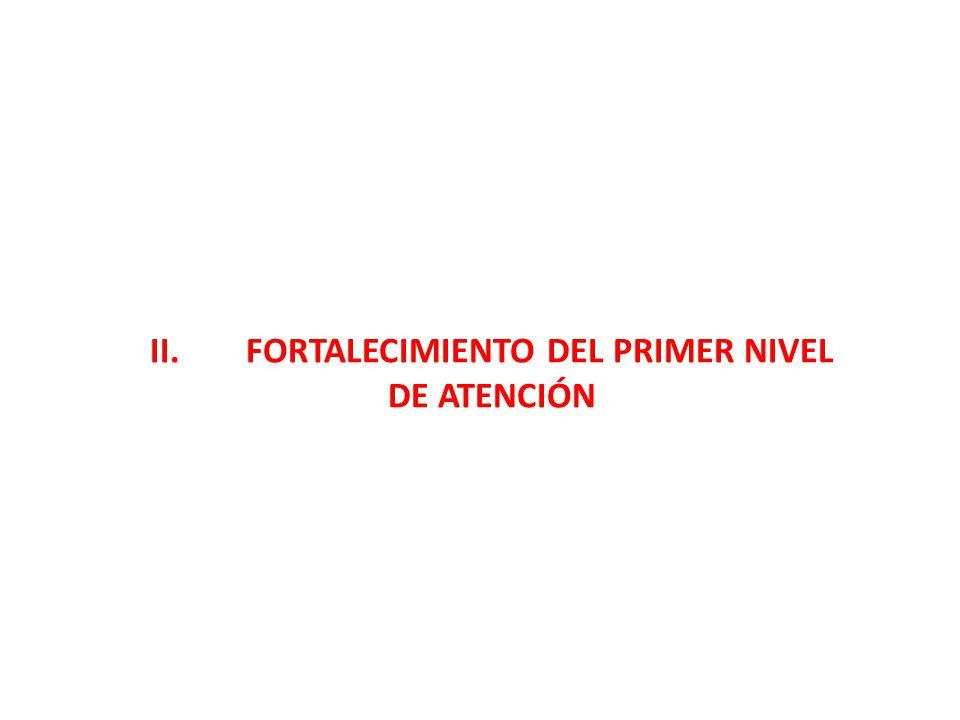 II. FORTALECIMIENTO DEL PRIMER NIVEL DE ATENCIÓN
