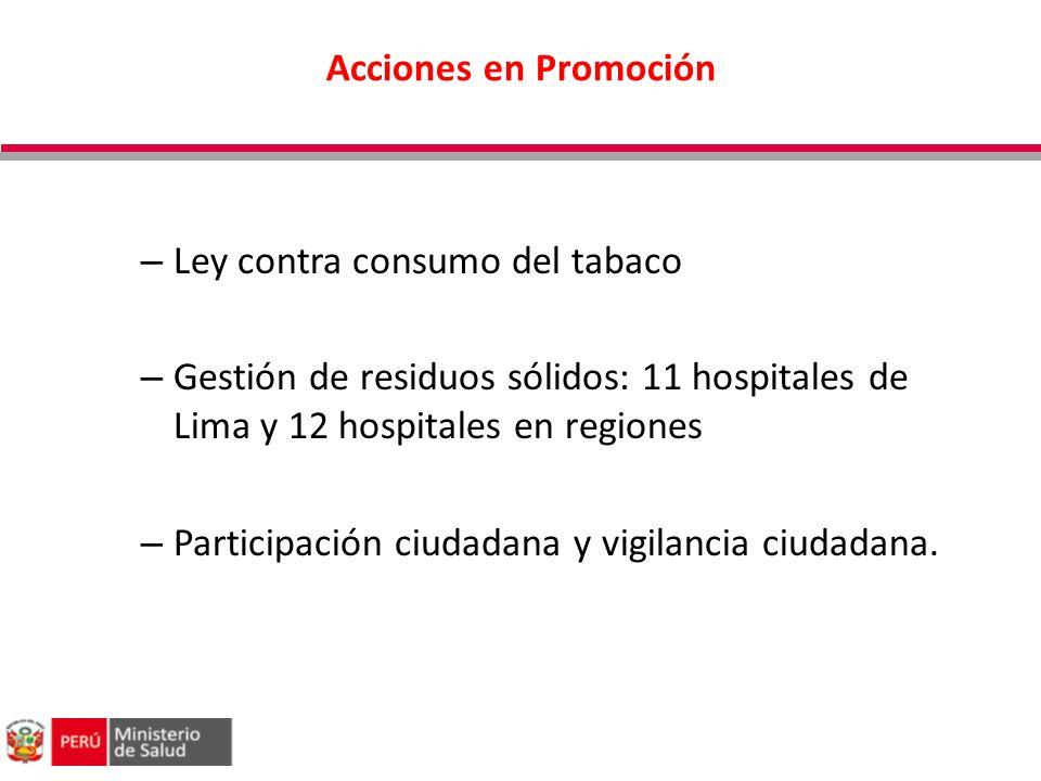 Acciones en Promoción Ley contra consumo del tabaco. Gestión de residuos sólidos: 11 hospitales de Lima y 12 hospitales en regiones.