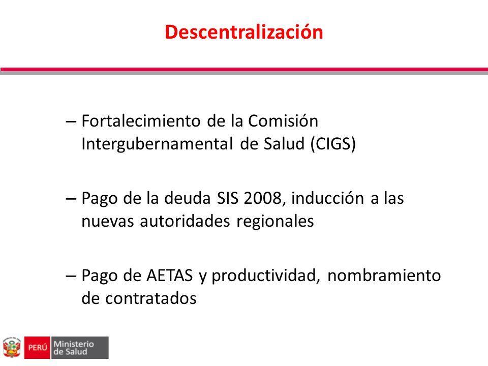 Descentralización Fortalecimiento de la Comisión Intergubernamental de Salud (CIGS)